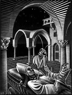 """""""Dream"""" by M.C. Escher http://en.wikipedia.org/wiki/M._C._Escher"""