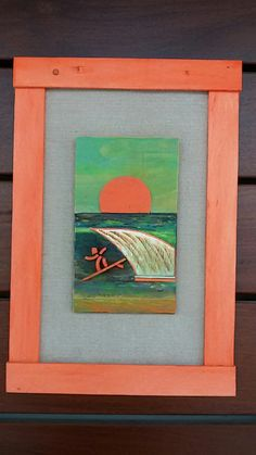 Wood bamboo acrylic paint sunset surf www.kelibeitia.com