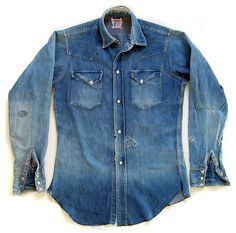Here's to our denim shirts—may we break them in slowly, but wear them to rags. Via: Dead As Vintage Raw Denim, Denim Boots, Denim Jeans, Denim Shirts, Patched Denim, Western Outfits, Western Shirts, Denim Fashion, Fashion Outfits