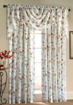 Brewster crushed sheer curtains have a delightful printed array of scrolling garden flowers printed on voile and gently crushed for a classic, yet updated look.  #Rod #Pocket #Curtains