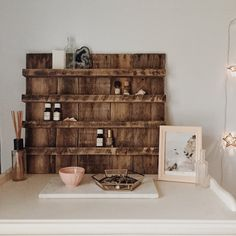 Essential Oil Storage// Reclaimed Wood// Essential Oil Shelf