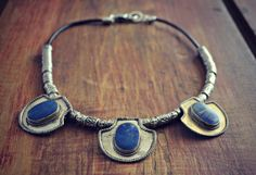 Tribal Tibetan Lapis Pendants with Decorative by sweetfreedomshop