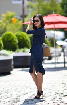 navy shirt dress with strappy sandals