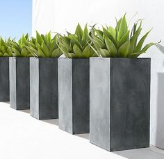Unique modern prefabricated planters for a stylish outdoor application – Patio Garden ideas - How to Make Gardening Modern Planters, Outdoor Planters, Garden Planters, Cement Planters, Backyard Playhouse, Backyard Games, Modern Landscaping, Backyard Landscaping, Square Planters