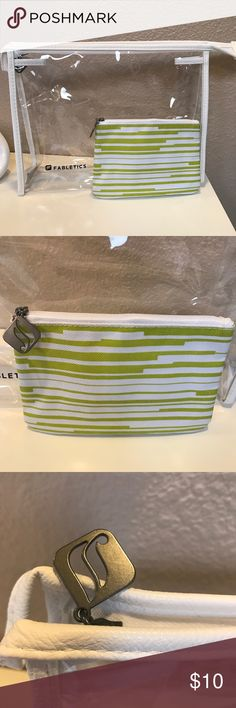 Fabletics Cosmetic Bag Set This set includes large clear cosmetic bag and small cosmetic bag. Both have a nice zippered closure. Excellent Condition. Only used once or twice. No stains or markings. Fabletics Bags Cosmetic Bags & Cases