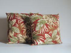 DECORATIVE PILLOWS Tropical print and Stripe  by AlexanderBenton, $40.00