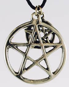 """Worn for protection and as a display of faith, the Pentagram Amulet is an honored symbol of witchcraft and magic. In the form of a five pointed star set within a circle, it is most modernly perceived as a symbol of the four elements and their mysteries, united by spirit, or the divine. Crafted of pewter and strung upon a black nylon cord with a smaller, 1/2"""" diameter interwoven pentagram, this is a great talisman to wear to focus your will and to help find protection from the energies  $8.95"""