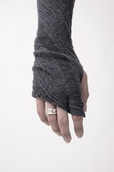 LUMEN ET UMBRA, AW12 FINGERLESS GLOVES: cotton, alpaca and wool blend. shown with a ring by iolom.