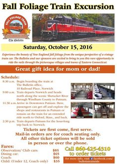 Fall #Foliage #Train Excursion 2016 tickets are on sale!  On Saturday, October 15, experience the beauty of #NewEngland fall foliage from the unique perspective of a vintage train car. The Bulletin and our sponsors are excited to bring to you this rare opportunity to ride the rails through the picturesque villages and towns of Eastern #Connecticut.  Tickets are first come, first serve. To order, call (860) 425-4310.