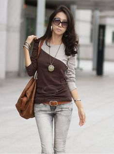Glamour Round Neck Color Block Splice Design Long Sleeve Slim Fit Cotton Blend T-Shirt For Women