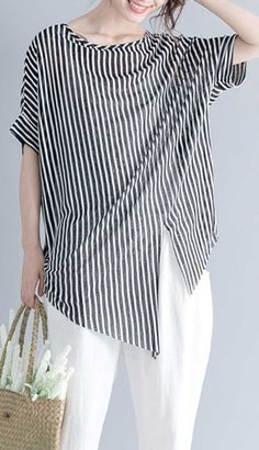striped-Midi-length-cotton-t-shirt-Loose-fitting-traveling-blouse-top-quality-short-sleeve-o-neck-asymmetrical-design-cotton-shirts