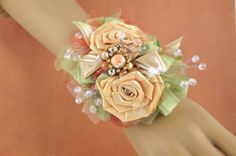 Wrist Corsage, Unique Bracelet, OOAK, Vintage Jewelry, Wedding, Special Occasions, Prom, Dance, Handmade, Peach, Sage, Rhinestones, Elegant