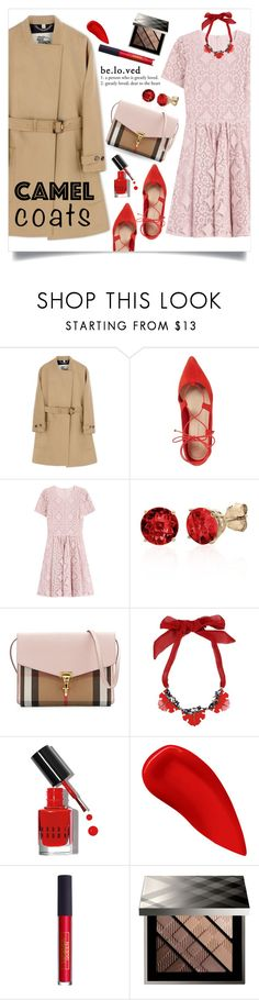 """""""Autumn dinner"""" by collagette ❤ liked on Polyvore featuring Burberry, Loeffler Randall, Belk & Co., Dsquared2, Bobbi Brown Cosmetics, Lipstick Queen, lacedress and camelcoat"""