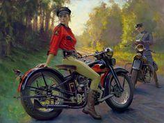 Women of Harley-Davidson painting   Tatoué Harley
