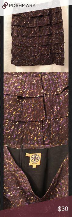 "Tory Burch Pink Multi Color Ruffle Silk Skirt 2 Tory Burch Pink Multi Color Ruffle Unique Silk Skirt 2 waist 28"" length 19"" Tory Burch Skirts Midi"