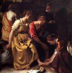 Artist: Jan Vermeer van Delft (Johannes Vermeer, Vermeer van Delft) - all paintings from this artist available as fine art prints, canvas prints, paper prints or hand painted oils. Johannes Vermeer, Vermeer Paintings, Art Et Nature, Hokusai, Murals Your Way, Diana, Baroque, Rococo, Dutch Golden Age