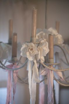 Grange de charme -soft pink and white ribbons delicately hung Pink And White Flowers, Fake Flowers, Diy Flowers, Fabric Flowers, Pink And Green, Old Sheets, Candle Lanterns, Candles, Little Girl Rooms