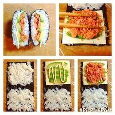 おにぎらず how to make onigirazu Bento Recipes, Cooking Recipes, Healthy Recipes, Sushi Sandwich, Onigirazu, Asian Recipes, Ethnic Recipes, Asian Cooking, Sashimi