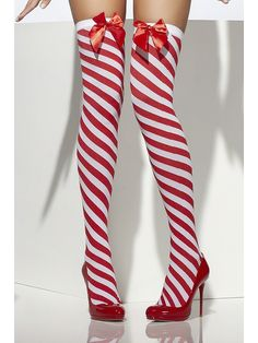 Hosiery Thigh High Candy Cane Stockings Polyester Imported Hand Wash Red and white striped tights Candy cane inspired stripes Wear with a costume or to add Striped Stockings, Sexy Stockings, Thigh High Socks, Thigh Highs, Leggings, Christmas Fancy Dress, Xmas, Christmas Lingerie, Womens Christmas