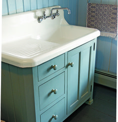 A charming bath cabinet made to fit the old sink found in an 1830 house's basement. Laundry In Bathroom, Bathroom Storage, Farmhouse Sink In Bathroom, Craftsman Bathroom, Concrete Bathroom, Long Island, Country Baths, Country Bathrooms, Country Décor