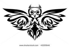 Black owl symbol isolated on white as a wisdom concept. Jpeg version is also available - stock vector