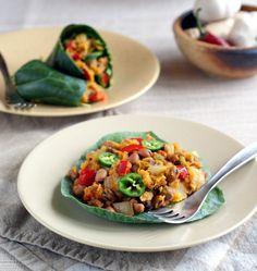 """African Inspired Spicy Squash and Fava Beans on Raw Collard """"Tortillas"""" (#vegan, #grainfree, #glutenfree, #dairyfree)"""
