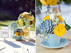 Wedding - love love love the tables - blue & yellow - i like the cut lemons in jars on the table too