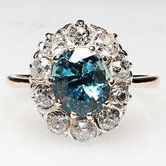 VICTORIAN ERA ANTIQUE BLUE ZIRCON & DIAMOND ENGAGEMENT RING SOLID 14K GOLD
