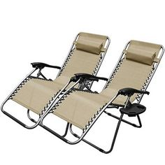 XtremepowerUS Zero Gravity Chair Adjustable Reclining Chair Pool Patio Outdoor Lounge Chairs w/ Cup Holder - Set of Pair (Tan) -- You can get additional details at the image link.