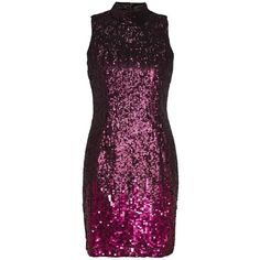 French Connection Starlight Sparkle High Neck Sequin Dress (£66) ❤ liked on Polyvore featuring dresses, clearance, red, red sparkly dress, red bodycon dress, sequin bodycon dress, sequin hearts dress and red sleeveless dress