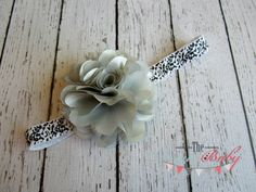 Gray Silver Flower Black & White Damask Headband  by TheRogueBaby.