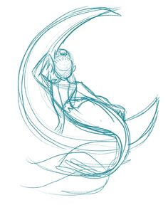 Mothers Day Drawings Discover Relaxing on the Moon // Ann Shen Animal Sketches, Art Drawings Sketches, Animal Drawings, Hand Drawings, Mermaid Drawings, Mermaid Drawing Tutorial, Horse Drawing Tutorial, Mermaid Tail Drawing, Mermaid Sketch