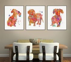 Dachshund Art Waterc Dachshund Painting Dachshund Wall Art Dachshund Decor