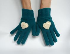 Heart Gloves Knit Gloves Teal Gloves Women Gloves by fizzaccessory, $24.00