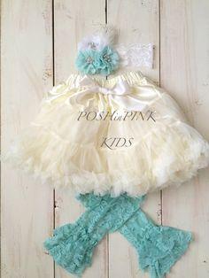 Ivory and Aqua chiffon pettiskirt set, petti skirt, Birthday, headband, baby, chiffon girls skirt, toddler, baby, fluffy by POSHinPINKKIDS on Etsy
