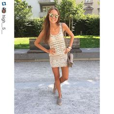 We spotted this summer style look from @high__5__ The Amina Square shoulder gives an extra touch to this lovely outfit.