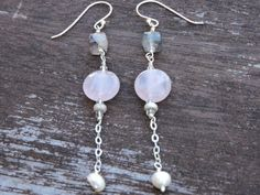 Super 7 Quartz  and Freshwater Pearl Drop by MyPrettyLilCreations