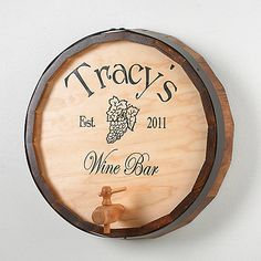 Personalized Oak Wine Barrel Top Sign at Wine Enthusiast - $129.95