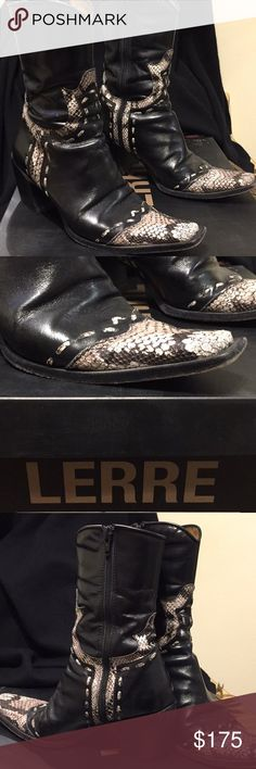 Stunning, edgy, sophisticated Italian cowboy boots Show stopping soft Italian calf leather (inside and outside) sophisticated cowboy boots! Lovingly worn with lots of high fashion miles to go! Still smells like new leather! Box included. Open to reasonable offers :) Lerre Shoes Ankle Boots & Booties