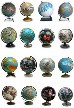 Typology of globes. Artist Wendy Gold.