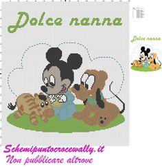 baby topolino pluto e zebra schema punto croce per copertina