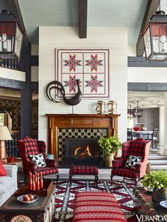 Red Pattern-Clashing for Your Living Room