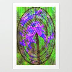 Oval Textured Hyacinth Art Print by Judy Palkimas