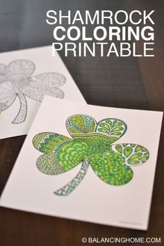 Shamrock coloring printable. Perfect for St. Patricks day. Love it for adults or the classroom. Such an easy kid craft.