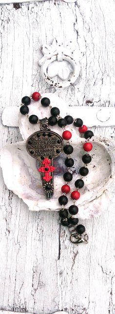 Key Cross Necklace Assemblage KeY NeCkLaCe by SecretStashBoutique