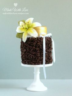 Chocolate Ruffle and Lily Cake  - by Made With Love