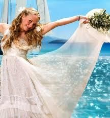 Sophie's wedding dress in 'Mamma Mia'. I would love to have a wedding like the one in the movie!