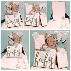 CTMH sweet baby box card with glacier, whisper and slate