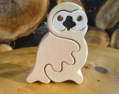Snow owl-Montessori - rompecabezas de madera Waldorf, hecha a mano de madera de arce, sin colores y laca no perjudiciales