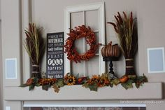 Fall Mantel  Please enjoy this repin! Be sure to visit my Facebook page: Stay Beautiful Within